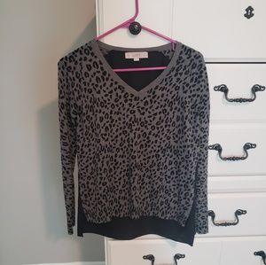 LOFT Black and Gray Leopard Sweater XS